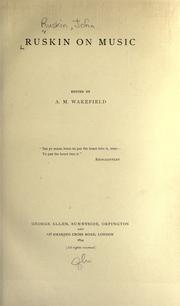 Cover of: Ruskin on music