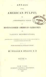 Cover of: Annals of the American pulpit