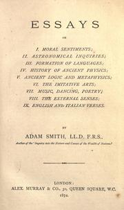 Essays On I Moral Sentiments  Open Library Cover Of Essays On I Moral Sentiments  Adam Smith
