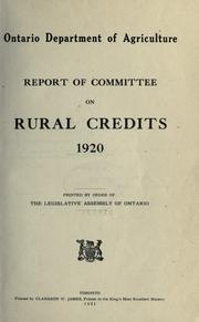 Cover of: Report of Committee on rural credits, 1920