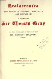 Cover of: Scalacronica | Gray, Thomas Sir