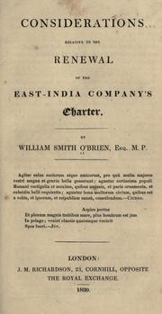 Cover of: Considerations relative to the renewal of the East-India Company's charter