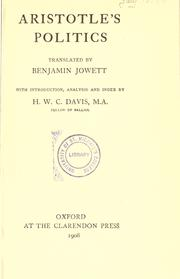 Cover of: Aristotle's Politics | translated by Benjamin Jowett; with introd., analysis and index by H.W.C. Davis.