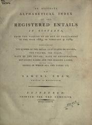 Cover of: An accurate alphabetical index of the registered entails in Scotland