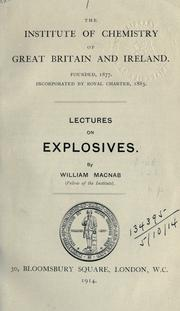 Cover of: Lectures on explosives