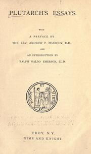 Cover of: Plutarch's essays