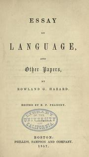 Cover of: Essay on language