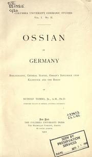Ossian in Germany by Tombo, Rudolf