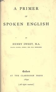 Cover of: A primer of spoken English