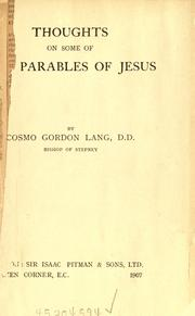 Cover of: Thoughts on some of the parables of Jesus