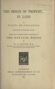 Cover of: The origin of property in land translated by Margaret Ashley