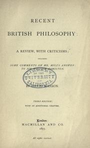 Cover of: Recent British philosophy: a review, with criticisms