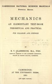 Mechanics by Glazebrook, Richard Sir