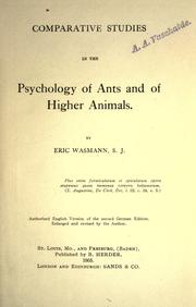 Cover of: Psychology of ants and of higher animals