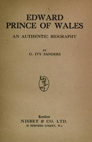 Cover of: Edward Prince of Wales