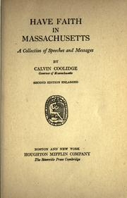 Cover of: Have faith in Massachusetts by Calvin Coolidge