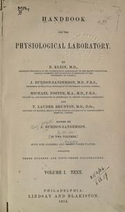 Cover of: Handbook for the physiological laboratories