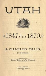Cover of: Utah, 1847 to 1870