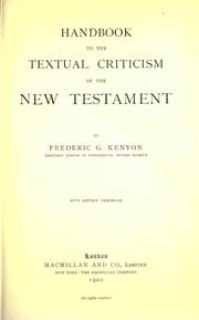Cover of: Handbook to the textual criticism of the New Testament