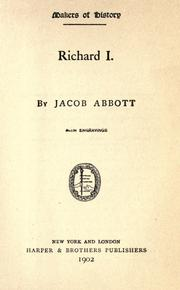 Richard I by Jacob Abbott