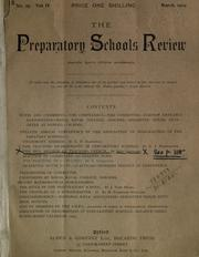 Cover of: The Preparatory Schools Review, No. 27 Vol IV by Otto Siepmann
