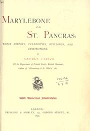 Cover of: Marylebone and St. Pancras