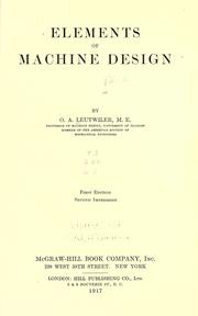 Cover of: Elements of machine design