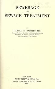 Sewerage and sewage treatment by Babbitt, Harold E.