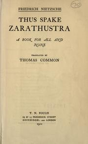 Cover of: Also sprach Zarathustra