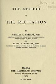 Cover of: The method of the recitation