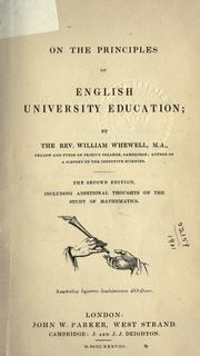 Cover of: On the principles of English university education