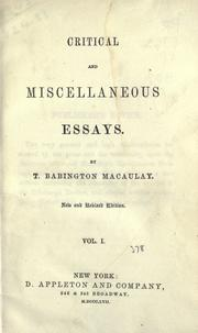 Cover of: Critical and miscellaneous essays