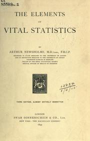 Cover of: Elements of vital statistics