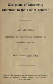 Cover of: The place of university education in the life of women