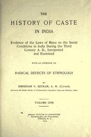 Cover of: The history of caste in India