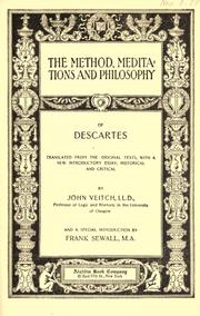 Cover of: The method, meditations and philosophy of Descartes