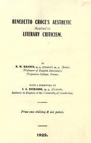 Cover of: Benedetto Croce's aesthetic applied to literary criticism