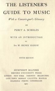 The listener's guide to music by Scholes, Percy Alfred