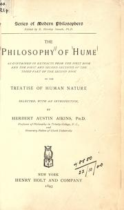 Cover of: The philosophy of Hume: as contained in extracts from the first book and the first and second sections of the third part of the second book of the Treatise of Human Nature