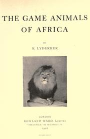 Cover of: The game animals of Africa