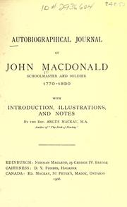 Cover of: Autobiographical journal of John MacDonald, schoolmaster and soldier, 1770-1830