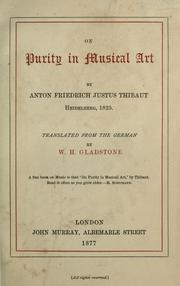 Cover of: On purity in musical art
