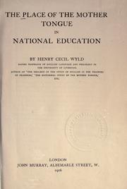Cover of: The place of the mother tongue in national education