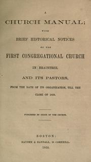 Cover of: A Church manual