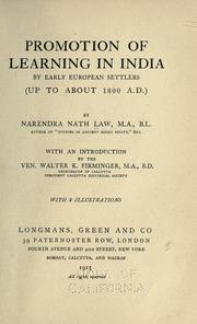 Cover of: Promotion of learning in India by early European setlers (up to about 1800 A. D.)