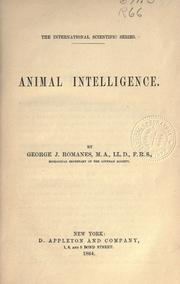 Animal intelligence by George John Romanes