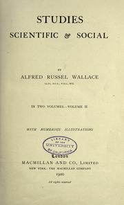 Cover of: Studies scientific & social: by Alfred Russel Wallace ...