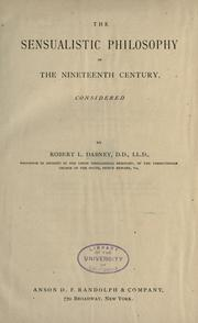 Cover of: The sensualistic philosophy of the nineteenth century: considered