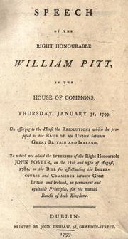 Cover of: Speech of the Right Honourable William Pitt