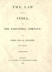Cover of: The law relating to India and the East-India Company